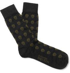 Alexander McQueen Skull-Patterned Cotton-Blend Jacquard Socks