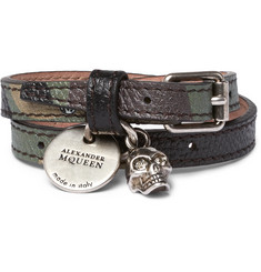 Alexander McQueen Camouflage-Print Leather, Silver-Tone and Swarovski Crystal Wrap Bracelet