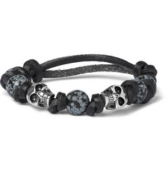 Alexander McQueen Leather, Bead and Silver-Tone Skull Bracelet