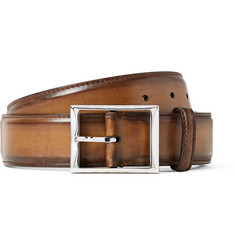 Berluti 3.5cm Brown Classic Polished-Leather Belt
