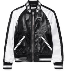 Givenchy Appliquéd Leather and Satin Bomber Jacket