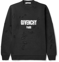 Givenchy - Cuban-Fit Distressed Cotton-Jersey Sweatshirt