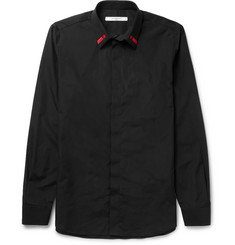 Givenchy Cuban-Fit Embroidered Cotton-Poplin Shirt