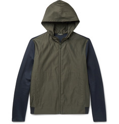 Berluti Slim-Fit Jersey-Panelled Cotton and Silk-Blend Hooded Jacket