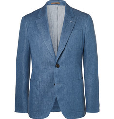 Berluti Blue Stretch Cotton and Linen-Blend Blazer