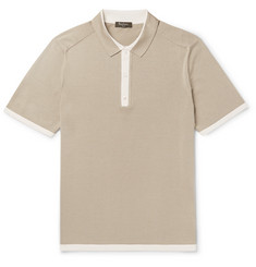 Berluti Slim-Fit Contrast-Trimmed Knitted Silk and Cotton-Blend Polo Shirt