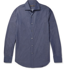 Berluti Slim-Fit Cutaway-Collar Cotton-Poplin Shirt