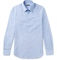 Berluti Slim-Fit Cutaway-Collar Striped Cotton and Linen-Blend Shirt