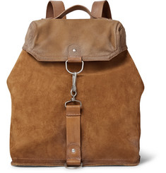 Maison Margiela - Distressed Suede, Leather and Canvas Backpack