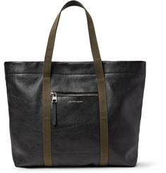 Alexander McQueen Webbing-Trimmed Full-Grain Leather Tote Bag