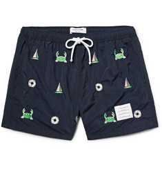Thom Browne Slim-Fit Short-Length Appliquéd Swim Shorts