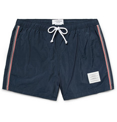 Thom Browne Slim-Fit Short-Length Stripe-Trimmed Swim Shorts