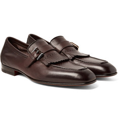 Santoni - Burnished-Leather Kiltie Loafers