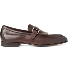 Santoni Burnished-Leather Kiltie Loafers