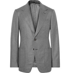 TOM FORD Grey Shelton Slim-Fit Silk and Cashmere-Blend Blazer