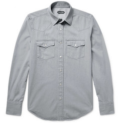 TOM FORD - Slim-Fit Washed Cotton-Twill Western Shirt