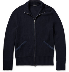 TOM FORD Suede-Trimmed Tuck-Stitch Wool Zip-Up Sweater