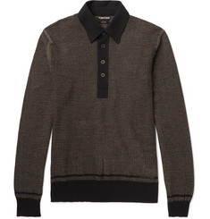 TOM FORD Jacquard-Knit Cotton, Silk and Cashmere-Blend Polo Shirt