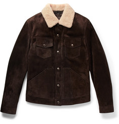 TOM FORD Slim-Fit Shearling-Trimmed Suede Jacket