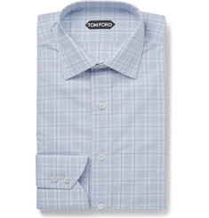 TOM FORD Blue Slim-Fit Checked Cotton Shirt