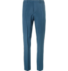 Valentino Slim-Fit Stripe-Trimmed Mohair and Virgin Wool-Blend Trousers