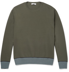 Valentino Stripe-Trimmed Stretch-Knit Sweatshirt