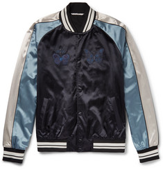Valentino Embroidered Satin Bomber Jacket