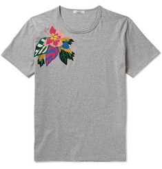 Valentino Slim-Fit Floral-Appliquéd Cotton-Jersey T-Shirt