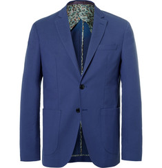 Etro Blue Wool and Cotton-Blend Blazer