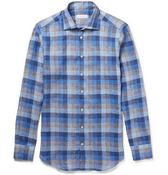 Etro Mercurino Slim-Fit Checked Linen Shirt