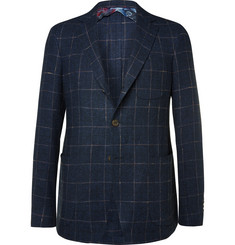 Etro Blue Slim-Fit Checked Slub Linen and Silk-Blend Blazer