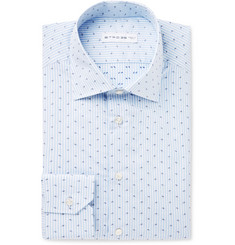Etro Blue Mercurino Slim-Fit Printed Striped Cotton-Poplin Shirt