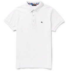 Etro Slim-Fit Button-Down Collar Cotton-Pique Polo Shirt