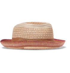 Etro Contrast-Trimmed Straw Panama Hat