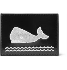 Thom Browne Whale-Appliquéd Polished-Leather Cardholder