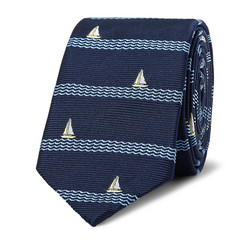Thom Browne - 5.5cm Sailboat-Patterned Silk-Jacquard Tie