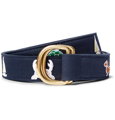 Thom Browne - 3cm Leather-Trimmed Embroidered Cotton Belt