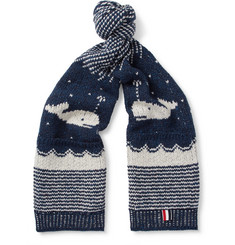 Thom Browne Jacquard-Knit Wool and Mohair-Blend Scarf