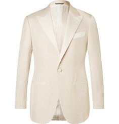 Thom Sweeney White Slim-Fit Silk-Hopsack Tuxedo Jacket
