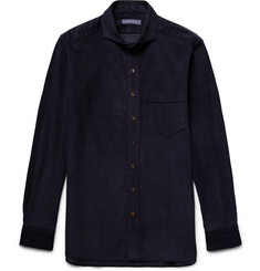 Thom Sweeney Slim-Fit Cutaway-Collar Cotton-Corduroy Shirt