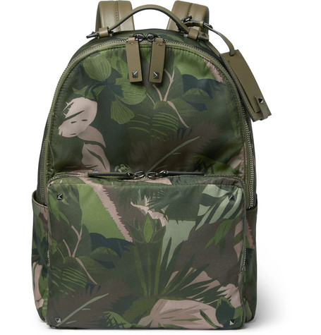 Valentino - Studded Printed Shell Backpack - Army green
