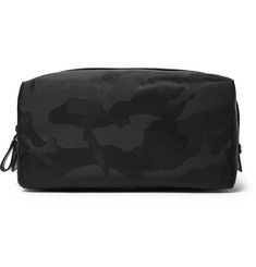 Valentino - Leather-Trimmed Camouflage-Jacquard Shell Wash Bag