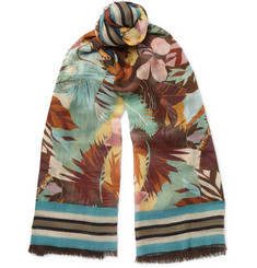 Valentino - Printed Cashmere, Silk And Wool-Blend Scarf