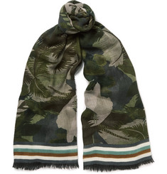 Valentino - Fringed Printed Cashmere, Silk and Wool-Blend Scarf