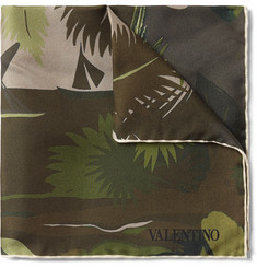 Valentino - Tropical-Print Silk-Twill Pocket Square