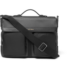 Dolce & Gabbana Full-Grain Leather-Trimmed Twill and Shell Messenger Bag