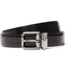 Dolce & Gabbana 2.5cm Black Polished-Leather Belt