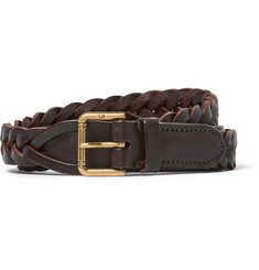 Dunhill - 2.5cm Brown Woven Leather Belt