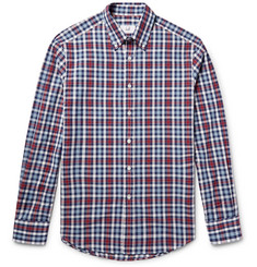 Dunhill Button-Down Collar Checked Cotton Oxford Shirt