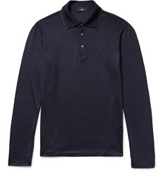 Dunhill Contrast-Tipped Wool Polo Shirt